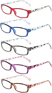 Kerecsen 5 Pairs Fashion Ladies Reading Glasses Spring Hinge Pattern Design Readers
