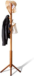 BMOSU Bamboo Coat Rack Freestanding Stand Tree Adjustable Coat with 3 Sections 8 Hooks Easy to Assemble Standing Coat Jack...