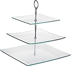Harmony Glass 3-tier Square Serving Tray, Clear
