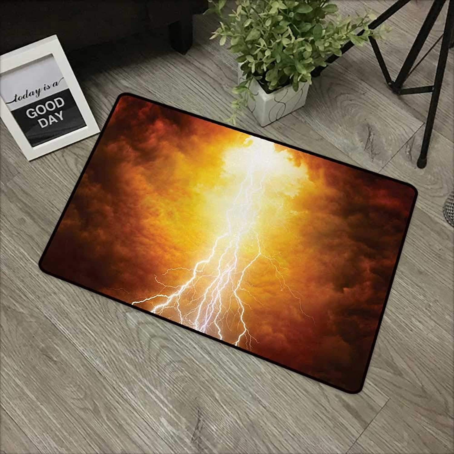 Square Door mat W35 x L59 INCH Landscape,Vivid Lightnings in Apocalyptic Sky Judgement Day End of World Themed Artwork,Yellow Brown Easy to Clean, no Deformation, no Fading Non-Slip Door Mat Carpet