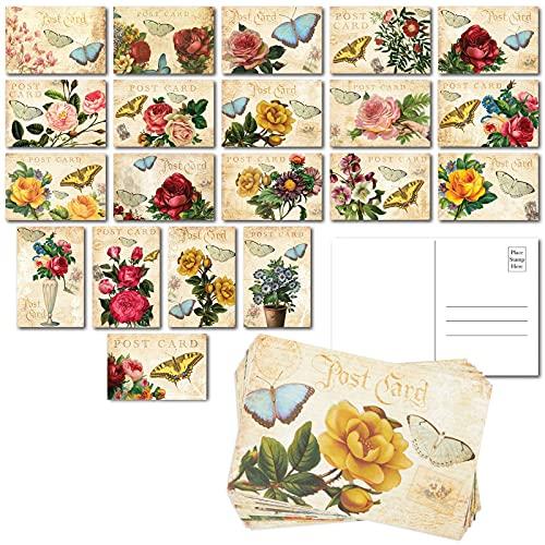 Victorian Vintage Postcards, Bulk Set with Floral Designs (4 x 6 In, 40 Pack)