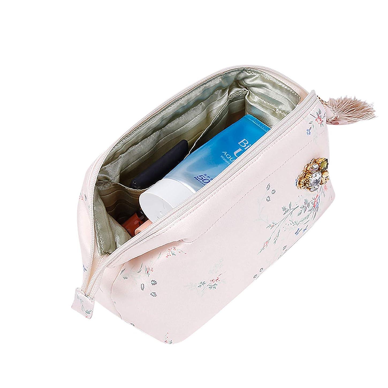 論争的簡単に緊急Rownyeon 上質 メイクポーチ 大容量 花柄 化粧ポーチ コスメポーチ ブラシいれ付き 携帯用 和風 ピンク おしゃれ 可愛い 機能的 バニティポーチ プレゼント