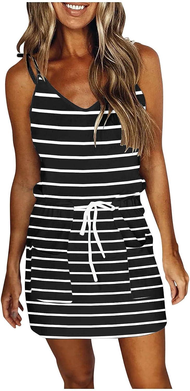 Sun Dresses Women Summer Casual V Neck Sleeveless Dresses Stripe Splicing Sling Belt Mini Dress Casual Sexy Boho