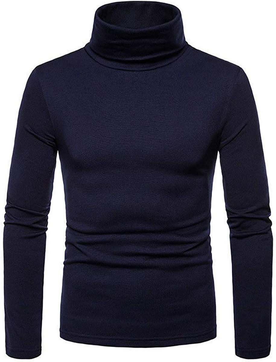 Mens Fleece Shirts Long Sleeve Turtle Neck Thermal Thick Warm Sweatshirts Slimt Fit Pullover Workout Top