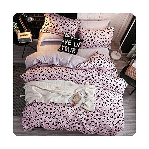Juego de ropa de cama con estampado de leopardo rosa para el hogar, funda de edredón y funda de almohada, sábana encimera King Queen Full 4 piezas individuales 3 piezas – 4 fundas completas 150 by200