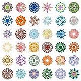 36 Piezas 6 x 6 Pulgadas Plantilla de Pintura Mandala Plantillas de Puntos de Mandala Plantilla Mandala de Pared para Piso Pared Azulejo Tela Muebles Madera Arte Ardiente
