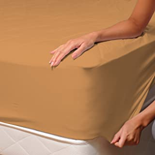 SoulBedroom Light Brown, Ochre (Safari) Fitted Sheet - 100% Cotton Bedding/Euro Double - 140X200 cm