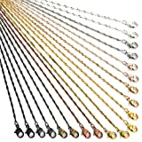 JIAYIQI 40 Pack Plain Necklace Chains for Jewelry Making 10 Colors Brass Link Cable Water Ripple Chain Necklace with Lobster Clasps and Jump Rings 19 Inches