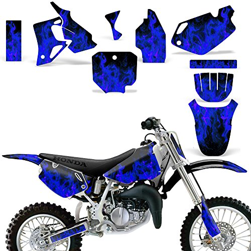 Wholesale Decals MX Dirt Bike Graphics kit Sticker Decal Compatible with Honda CR80 1996-2002 - Flames Blue