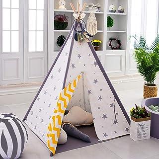 TreeBud Teepee tält för barn, indiskt tält småbarn inomhus vikbar duk teepee 4 stolpar med basmatta och bärväska