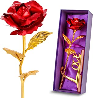 Red Leaf 24K Gilded Artificial Roses for Thanksgiving Day Mother's Day Valentine's Day Birthday Gift (Red)
