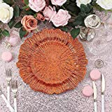 Efavormart 6 Pack 13' Round Acrylic Reef Charger Plates Ruffled Rim Dinner Charger Plates (Orange)