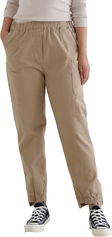 CP & U Women's Casual High Rise Elastic Waist Pull On Unbalance Jogger Pants.