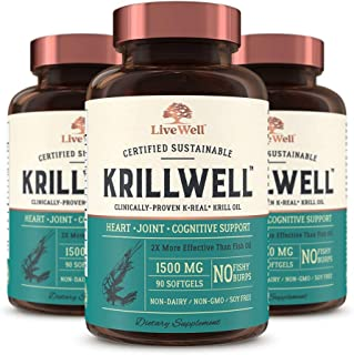 KrillWell Heart, Joint, and Cognitive Support | Certified Sustainable, Clinically-Proven K-Real Krill Oil 2X More Effective Than Fish Oil - 90 Day Supply