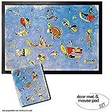 1art1 Wassily Kandinsky, Himmelblau, 1940 | Fußmatte Innenbereich und Außenbereich | Design Türmatte (70x50 cm) + Mauspad (23x19 cm) Geschenkset