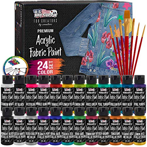 U.S. Art Supply 24 Color Set of Permanent Acrylic Fabric Paint in 2 Ounce Bottles, Plus a 7-Piece Brush Kit - Artists Textile Paint for Clothes, Denim, Canvas, Jeans, Jackets, T-Shirts, Bags, Shoes