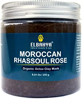 Moroccan all Natural Rhassoul Clay Rose Water Face and Hair Mask, Cruelty-Free Detoxifying Organic Ghassoul, Deep Pore Minimiser, Cleanser and Conditioner