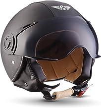59~60cm EDW Demi-Casque de Moto r/étro Harley Noir Visage Ouvert Vintage Mofa Bobber Scooter Cruiser Jet Moto Casque Respirant Touring Casque Doublure auriculaire Objectif int/égr/é,L