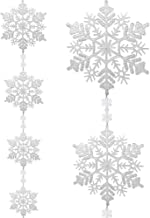 "BANBERRY DESIGNS Extra Large Snowflake Winter Wonderland White Garland 74"" Long- Jumbo Assorted Snow Flake Sizes -Holiday ..."