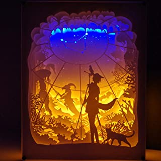 Dergo ☀ Paper Carving Lamp,Creative Art Décor Lamp Light 3D Night Lamp Paper Pattern Painting LED Table Desk Color Shadow Box Frame (C)