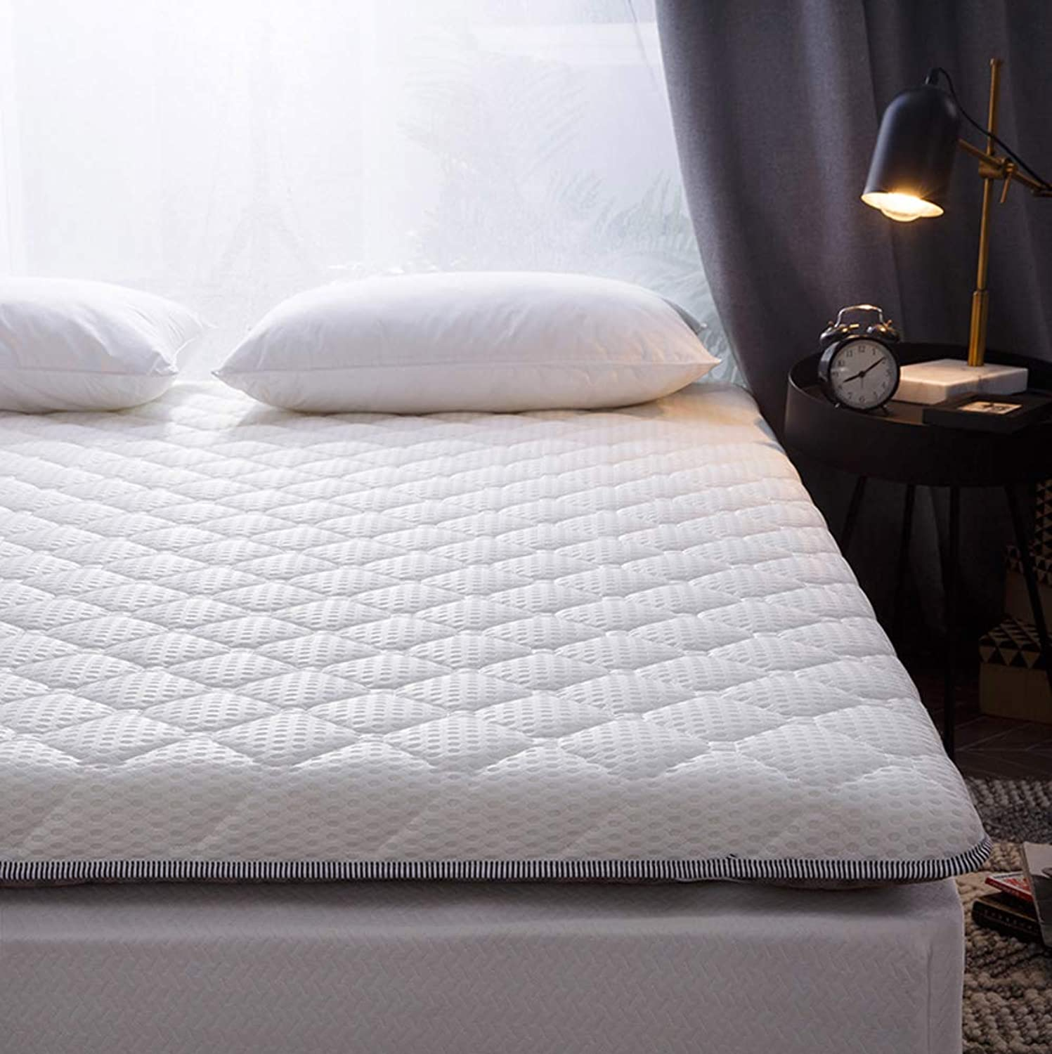 Breathable Mattress pad Cover,Foldable 4-5 cm Thick Washable Fulffy Tatami Floor mat Student Dormitory-White Twin 90×200cm