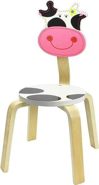 IPlay ILearn 10 英寸儿童实木动物椅子可堆叠木制成品学前托儿所卧室游戏室托儿所座椅牛家具儿童男孩女孩凳子