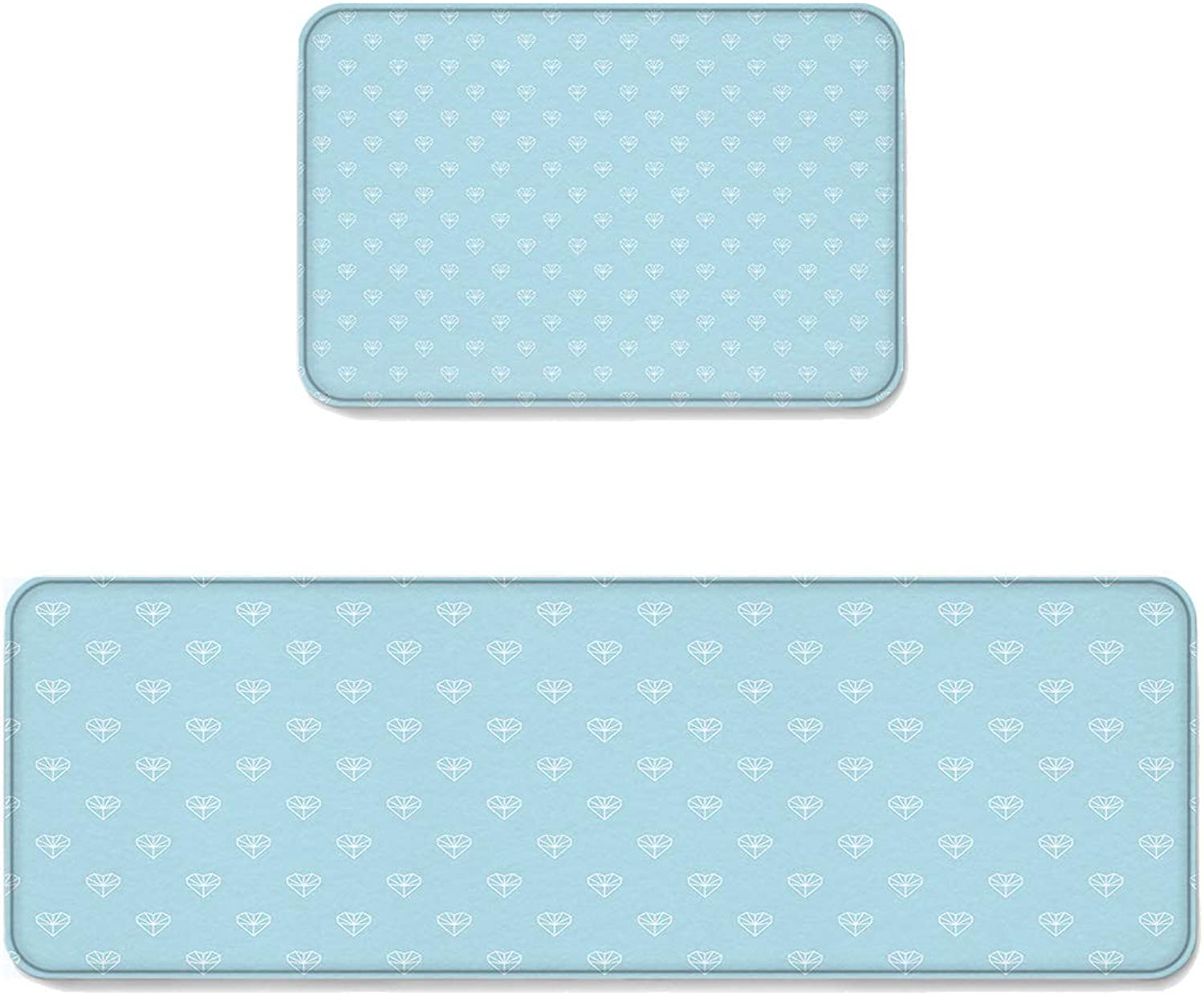 Kitchen Rug Sets 2 Piece Floor Mats Non-Slip Rubber Backing Area Rugs Romantic Diamond Hearts on The Teal Background Doormat Washable Carpet Inside Door Mat Pad Sets (23.6  x 35.4 +23.6  x 70.9 )