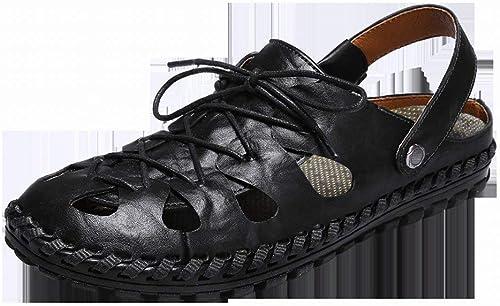 Fuxitoggo Sandales Cousues à la Main, Chaussures de Ville (Couleuré   Noir, Taille   42)