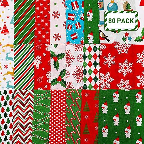 80 Paquetes de Tela de Algodón de Navidad de 5,8 x 5,8 Pulgadas Cuadrado de Coser de Patrón Navideño Patchwork Floral Estampado Grande Retales Precortados de Copo de Nieve para Manualidades de Navidad
