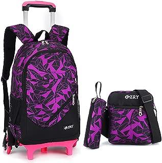 Meetbelify 3Pcs Rolling Backpack Boys Girls Trolley School Bags with Lunch Bag&Pencil Case,6 Wheels,Purple