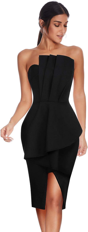 Meilun Vestido ajustado para mujer con cuello en V y hombros descubiertos