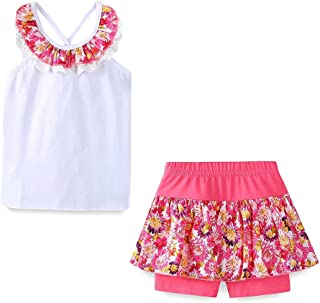 LittleSpring Little Girls Summer Outfit Floral Top and Shorts Clothing Set