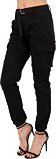 Women's High Rise Slim Fit Color Jogger Pants Matching Belt - Size Small to 3X