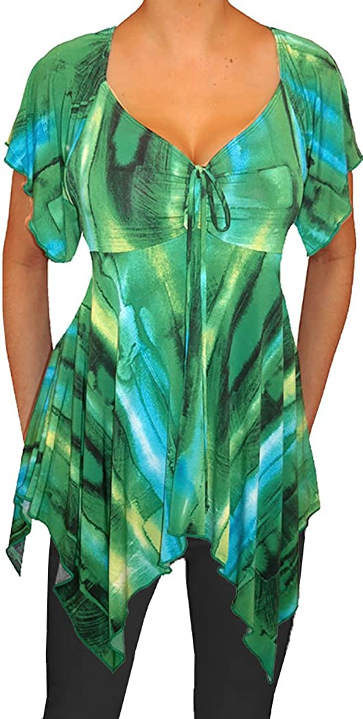 Funfash Plus Size Women Slimming A Line Empire Waist Top Blouse Shirt Made USA