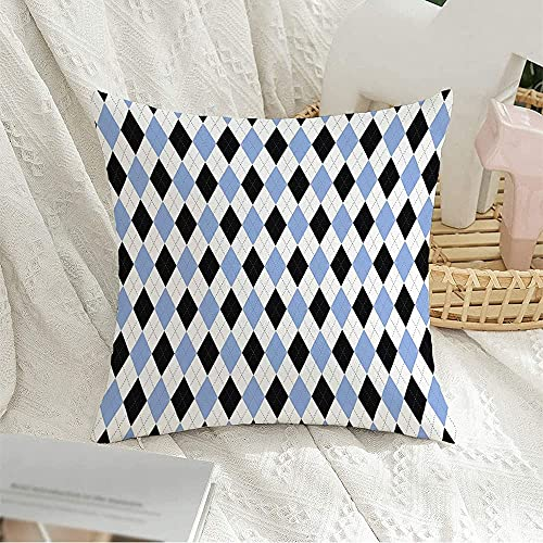 Funda decorativa para almohada cuadrada, Escocia, calcetines para hombre, diseño de cuadros de rombos, cuadros azules, texturas negras, franela, suéter, fundas de almohada con forma de rombo, para de