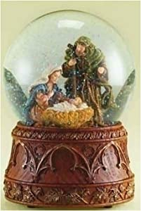 Christmas Nativity 120MM Musical Snow Globe Glitterdome with Carved Wood Base - Plays Tune O'Holy Night