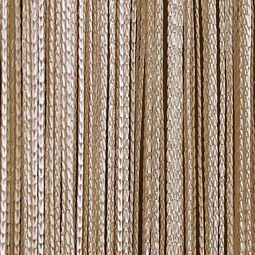 JEMIDI Fadenvorhang Tür Vorhang Gardine Schal Faden Türvorhang Fadengardine in 2 Größen (Beige, 90cm x 250cm)