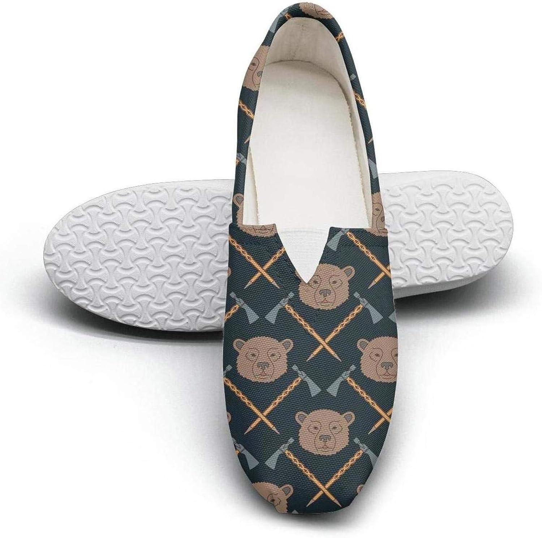 Jawass Bear Baby Bear Decor Women's Canvas shoes Vintage Slipons Sneaker Low Top