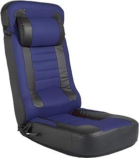 タンスのゲン CYBER-GROUND レーシング 座椅子 【スーパーハイバック】 低反発 PVC×メッシュ レバー式 14段階 リクライニング パーソナルチェア ゲーミングチェア ネイビー 15210057 02 【64101】