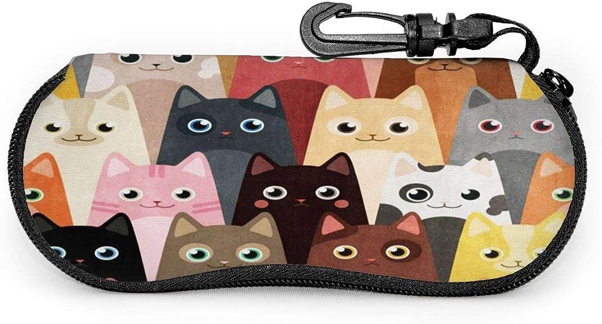 Colorful Funny Cats Kitten Animals Sunglasses Soft Case Ultra Light Neoprene Zipper Eyeglass Case With Key Chain