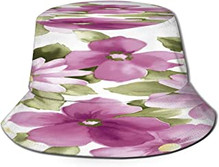 Fisherman Hat Purple White Flower Painting Bucket Hat Unisex 3D Printed Packable Bonnie Cap UV Protect Lightweight Sun Hat for Picnic Hunting Fishing Golf Hiking