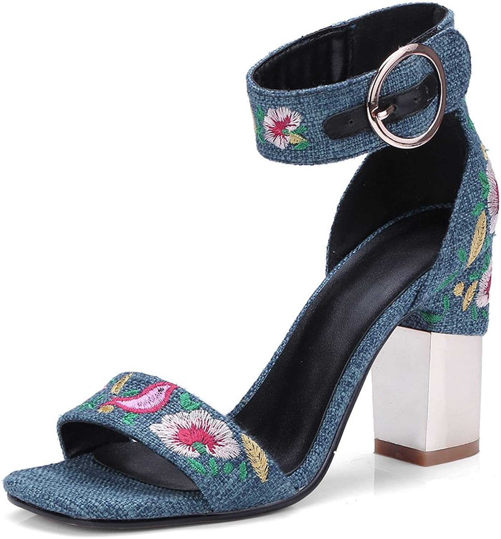 Damen Sandalen Open Toe Dicke High Heels Mode Bestickt Schnalle, Blau, 38