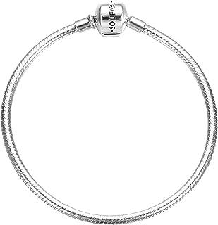 925 Sterling Silver Bracelet Crystal Clasp Charm Bracelets Snake Jewelry Chain Simple Bracelets for Girls Women Baby