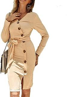 Howely Women Split Knit Long-Sleeve Bow Tie Belt Body-Con Dress