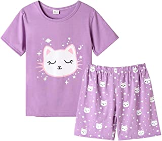 Sponsored Ad - MyFav Young Girls Pajama Cute Cat Pattern Nighty Comfy Shorts Cotton Sleepwear
