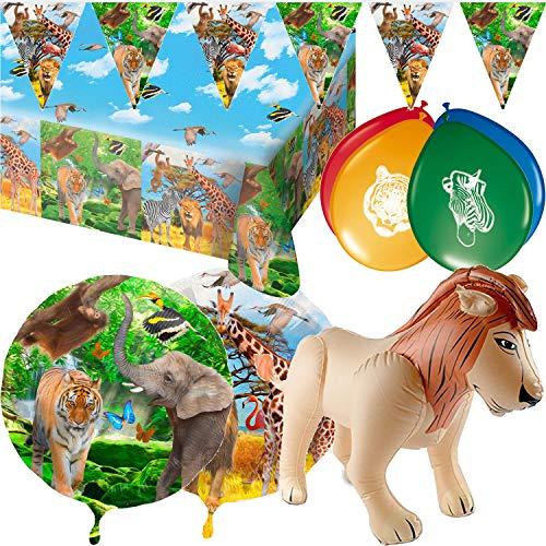 55 Piezas. Set de decoración de Safari para cumpleaños Infantiles y Fiestas temáticas, con Mantel, banderola, Globo, Globos, león Hinchable, serpentinas