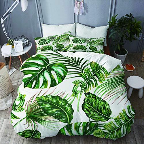 YOLIKA Bettwäsche-Set,Tropisches Palmblatt, Monstera, Dschungelblattblumensommermuster,Mikrofaser Bettbezüge Set mit Reißverschluss,und Kopfkissenbezüge,135x200