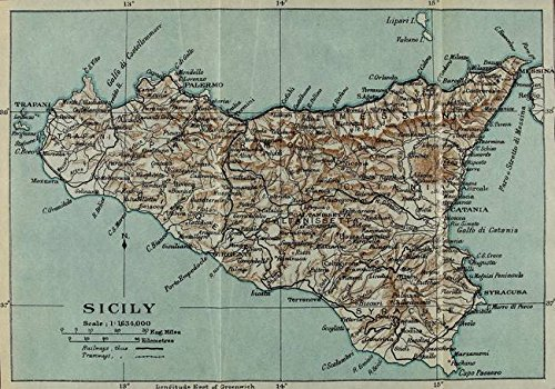 Wall Art Print Entitled Vintage Map of Sicily Italy (1911) by Alleycatshirts @Zazzle | 32 x 22