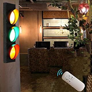 ANKBOY LED de Advertencia Señal de Alarma 5W*3, Semáforo Grand Lámpara de Pared con Control Remoto Luces Ajustables, Retro Industrial Apliques de Pared Advertencia Traffic Light con Interruptor