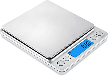 AMIR Digital Kitchen Scale 500g/ 0.01g Pro Cooking scale with Back-Lit LCD Display Accuracy Pocket Food Scale 6 Units Auto Off Tare PCS Function Stainless Steel Batteries Included (Silver)